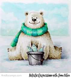 Coloring from Jane Allen featuring Birdie Brown Polar Bear Pals stamp set #mftstamps
