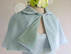 Something Blue short fitted cape women short capelet retro style cape bridal cape Kinds Of Clothes, Clothes For Women, Retro Fashion, Vintage Fashion, Bridal Cape, Capes For Women, Estilo Retro, Blue Wool, Something Blue