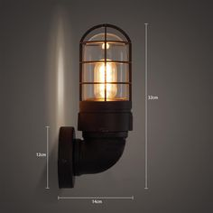 Classic Bunker Industrial Wall Light Sconce Measurements