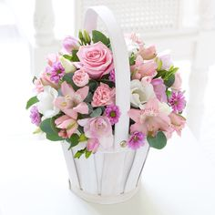 18 best pink flowers images on pinterest floral arrangements pink this pretty pink basket arrangement will dazzle your guests at the wedding mightylinksfo