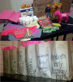 Bachelorette Party Favors - Recovery Bags with all the necessities:  Ibuprofen, Gatorade, Snacks, Gum, Nail file, VS Panties, etc. Sister Wedding, Friend Wedding, April Wedding, Dream Wedding, Bachelorette Party Favors, Bachelorette Weekend, Bridezilla, Party Needs, Cute Wedding Ideas