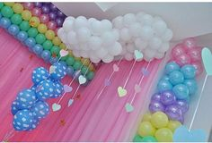 Care Bear Birthday, Care Bear Party, Girl Birthday Themes, Unicorn Birthday Parties, Unicorn Party, Baby Birthday, Rainbow Party Decorations, Balloon Decorations, Birthday Party Decorations