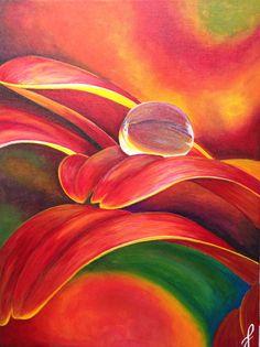 Droplet on gerber petal #painting #flowerpainting  Www.jennifernoseworthy.com