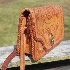 Engraved leather bag
