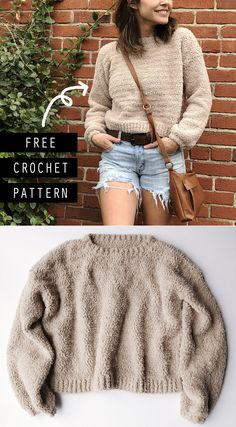 Cropped Crochet Sweater Free Pattern - Megmade with Love crochet pattern The Cloud Nine Cropped Sweater - Free Crochet Pattern Pull Crochet, Mode Crochet, Knit Crochet, Diy Crochet Sweater, Chunky Crochet, Tunisian Crochet, Crochet Granny, Crop Pullover, Baby Pullover