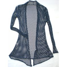 Blue fishnet long cardigan