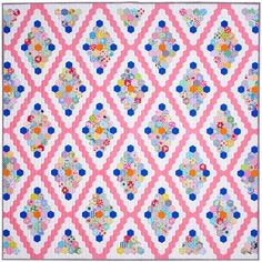 Vintage Inspired Hexagon Quilt - English Paper Pieced © Red Pepper Quilts 2021 Patchwork Quilt Patterns, Hexagon Quilt, Hexagons, Bright Quilts, Stitch Lines, Floral Print Fabric, Quilt Sizes, English Paper Piecing, Quilt Bedding