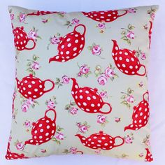 """Pillow cover Cushion cover 16"""" x 16"""" Fabric Tea Pot  & Dots Sage Green  Rose Buds Red polka dots Handmade"""
