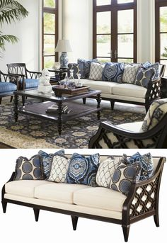 From the elegant pierced quatrefoil design on the outside arms, to the woven rattan on the outside of the back, to the graceful line of the silhouette, the Bay Club Sofa is sure to make a striking statement in any room of your home.