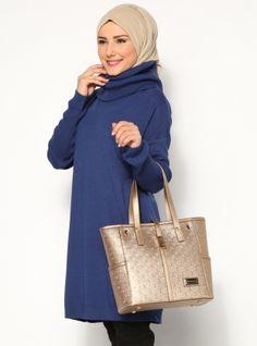 Turtleneck Tunic - Navy Blue - Seyhan Fashion