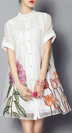 Embroidered Flower Ball Gown Dress
