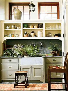 Mudroom With Flower Cutting Sink - great ideas if you want to incorporate a potting area into your mudroom.