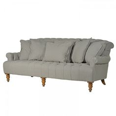 Buttoned twill 3 seater sofa finished in light grey with wooden feet - £1,469.00 Shop > http://www.exclusiveinteriors.co.uk/living-room/sofas/buttoned-twill-3-seater-sofa