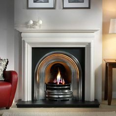 Silver accented fireplace surround
