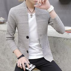 2018 knitting cardigan male v-neck outer wear in the spring and autumn – heavengif Mens Fashion Blazer, Suit Fashion, Male Sweaters, Men Sweater, Motifs Islamiques, Blazers For Men, Sweater Outfits, Mens Clothing Styles, Stylish Men