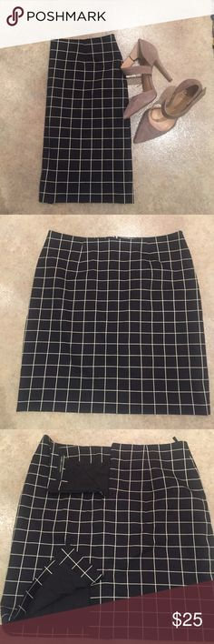 Black Grid Pencil Skirt Worn once! Dry cleaned after. I just have waaay too much black and white! Brand is Amanda + Chelsea from Nordstrom :) Nordstrom Skirts Pencil