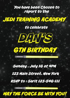 Printable #Star #Wars #Birthday Invitation. It is a digital file, if you like it you can find it on Etsy shop 2Rabbits Print & Enjoy. Looking for more cool ideas and free printables click on link. #starwarsbirthdayinvitation #starwarsbirthdaypartyideas #starwarsbirthdayparty