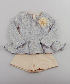 Blue Tweed Peplum Top & Creme Shorts - Toddler & Girls by Mia Belle Baby #zulily #zulilyfinds