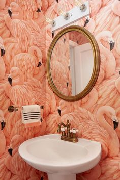 Home Decor For Small Spaces flamingo wallpaper in a tiny powder room.Home Decor For Small Spaces flamingo wallpaper in a tiny powder room Flamingo Wallpaper, Animal Print Wallpaper, Bold Wallpaper, Wallpaper Direct, Wallpaper Ideas, Tropical Wallpaper, Original Wallpaper, Coastal Bathrooms, Small Bathroom