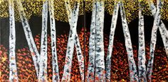 """Night Birches"" by Elena Hajda Artist. Birches, Signature Style, Candles, Night, Artist, Painting, Home Decor, Decoration Home, Room Decor"