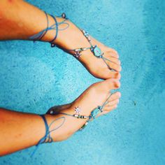 Aqua Barefoot sandals - Gypsy shoes - Wire wrapping - Blue - Bohemian - Tribal - gypsy - Recycled <3