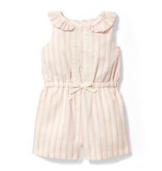 Striped Romper. Features lace trim, ruffle collar and front pockets too. | Rompers and Jumpsuits | Girl Apparel | Kids clothing #afflink