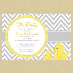Rubber Duck Baby Shower Invitation - Matching Coordinates Available. This might be the invite!