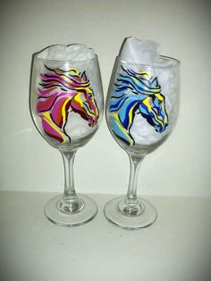 Whimsical Horse Head Hand Painted Wine Glass by kraftymamaboutique, $36.00