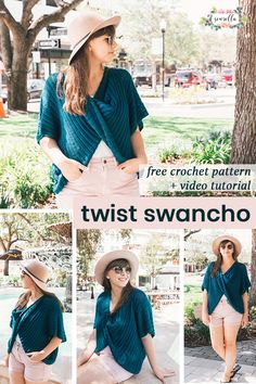 Crochet this easy beginner friendly twist swancho - a mix between a sweater and a poncho! It's oversized, super comfortable, and easy for layering through all seasons. Find the #freepattern and #videotutorial on my blog! #crochet #easy #beginner #DIY #howto #sweater #poncho #swancho