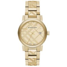 Burberry City  watch. Features include: [Case] 38mm gold PVD coated stainless steel , [Water Resistance] 50m, [Crystal] Sapphire crystal, [Movement] quartz, [Strap / Bracelet] Stainless steel/pvd bracelet, [Buckle] Stainless steel deployment buckle