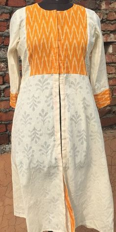Yellow Ikkat Love Kurti