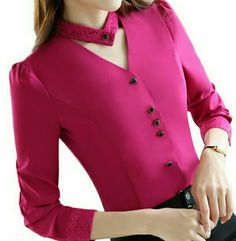 2017 New slim formal long sleeve women shirt OL autumn Elegant V-neck lace Patch. - 2017 New slim formal long sleeve women shirt OL autumn Elegant V-neck lace Patchwork chiffon blouse - Neck Designs For Suits, Dress Neck Designs, Kurti Neck Designs, Designs For Dresses, Blouse Designs, Mode Outfits, Fashion Outfits, Emo Fashion, Office Ladies