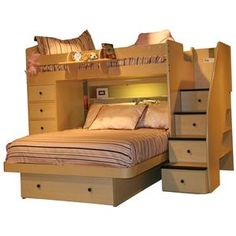 One of the best bedroom systems designed to sleep two children. The 5 drawer chest, with attached shelves on the back, offers plenty of storage clothes, toys, or extra linens. The full bottom bed features a contemporary style and includes a bookcase headboard with a light and a large storage drawer underneath. The signature staircase provides a safe and easy access to the top bed, while built-in deep drawers offer an ample amount of storage. With multiple finish options and a variety of knob…