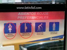 Asientos rojos preferenciales en el Metropolitano - Y donde está el detalle - Mujeres embarazadas - Mujeres con niños en brazos - Personas de la tercera edad - Personas con discapacidad