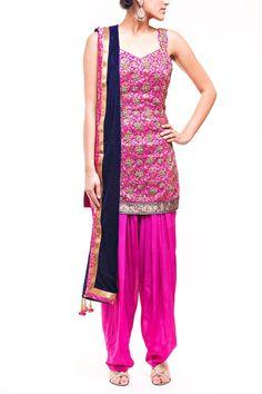 Hot Pink Salwar Kameez in Pure Brocade