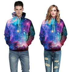 Sunny Collectibles 2015 3D sweatshirts colorful galaxy thick winter hooded sweatshirts mr mrs loose quality spandex hoodie women