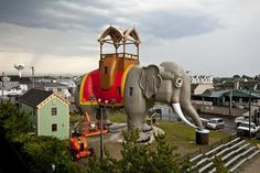 """""""Lucy the Elephant,"""" is 65 feet high and dominates the oceanfront in Margate, New Jersey. She was built in 1881 to draw attention to a developer's beach lots for sale. When the wooden elephant was about to be torn down to make way for new condos,  a committee raised funds to move Lucy two blocks to her current location and completely restore her. A staircase in one of the legs leads to a huge room inside Lucy; visitors can also climb up and enjoy the view from on top. Open year-round for…"""