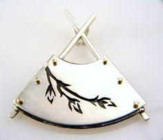 Custom Design Hand Pierced Sterling Silver And Gold Fan Pendant