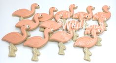 Flock of flamingo cookies. Texas Wildflour Baking