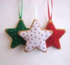 adornos de fieltro |  Tres adornos tradicionales galletas de la estrella de fieltro: