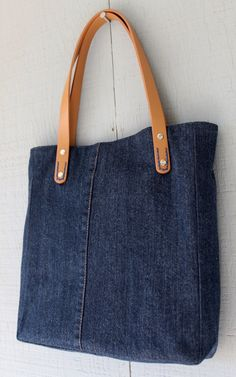 Denim Frayed Patch Tote with Outside Pocket Leather Straps