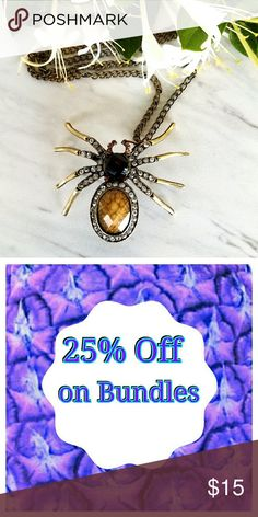 Spider Crystal Necklace Large Spider Crystal Necklace Large  🍍25% off on bundles   Inventory #69 Jewelry Necklaces