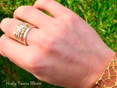 Mary Frances Flowers Ring Stack: Simple Ring + Dots Ring + Double Stack Ring + Open Ring