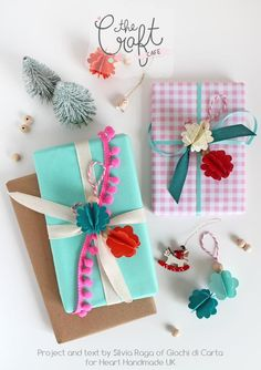 Perfect Gift Wrapped Gifts! Learn how to wrap perfect gifts for Christmas with Silvia Raga of Giochi Di Carta for Heart Handmade UK. Use beads, little decorations and lots of ribbons and trims to create pretty little packages. http://www.hearthandmade.co.uk/colourful-christmas-gift-wrap/