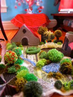 Knitted Farm Yard - My friend made this beautiful farm yard for her little boy. So creative!