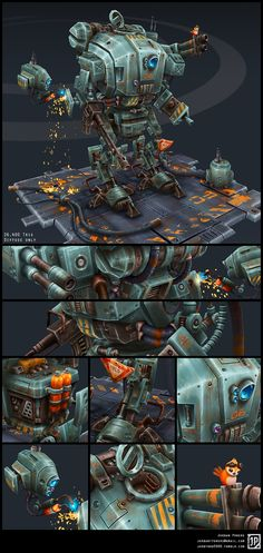 "JKM-06 ""Jackalope"" battle mech for portfolio, 2013  (work in progress) Concept, models and textures by Jordan PowersI was originally aiming to create a realistic Hawken mech for a portfolio project, but once I sketched out this mech I immediately loved the attitude and cartoony character it had. I named it the ""Jackalope,"" a mythical creature known for being small yet ferocious."