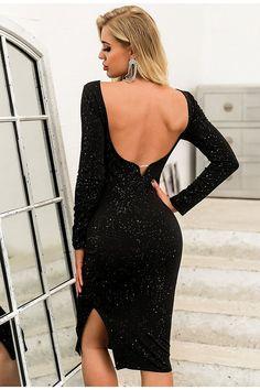 Glamaker Low Back Slit Hem Glitter Bodycon Dress Boat Neck Dress, Dress P, New Dress, Sequin Midi Dress, Bodycon Dress, Robes Midi, Glitter Fabric, Black Pattern, Types Of Sleeves