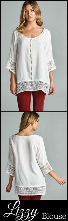 Lizzy Blouse $33  Women's Top with Crochet Lace Accents  http://shoppinkboutique.com/product/lizzy-blouse-off-white/