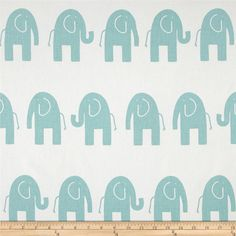 Changing Pad Cover-White/Canal Blue Seafoam Aqua Elephants