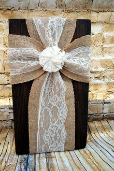 burlap cross-burlap ribbon on wood-wood by rilieghrhyans on Etsy